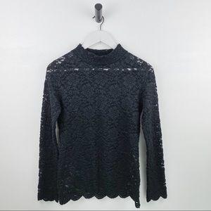 BCBG Long-Sleeve Lace Top